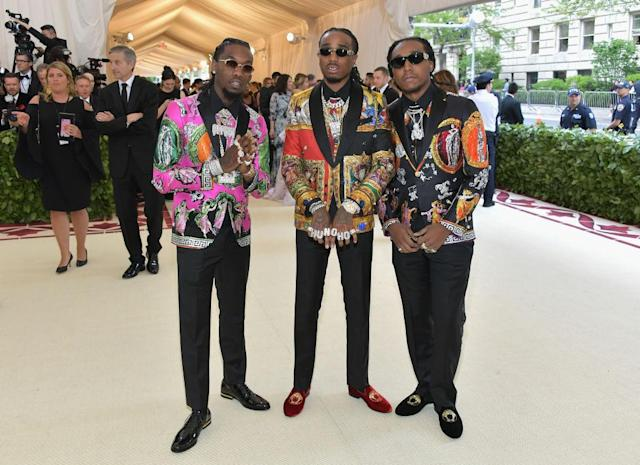 <p>The three men of Migos were inspired by their 2013 debut single titled Versace. (Photo: Getty Images) </p>