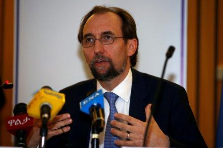 FILE PHOTO: United Nations High Commissioner for Human Rights Zeid Ra'ad al-Hussein of Jordan address a news conference during his visit in Ethiopia's capital Addis Ababa, May 4, 2017. REUTERS/Tiksa Negeri