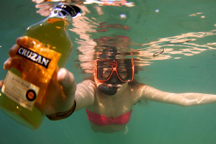 The weekly Snorkel Booze Hunt is popular at the Bolongo Bay Beach Resort in St. Thomas, U.S. Virgin Islands.