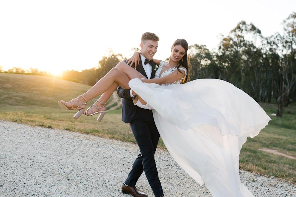The couple got married at the Mitchelton Winery just out of Nagambie on the Goulburn river. Photo: Chloe May