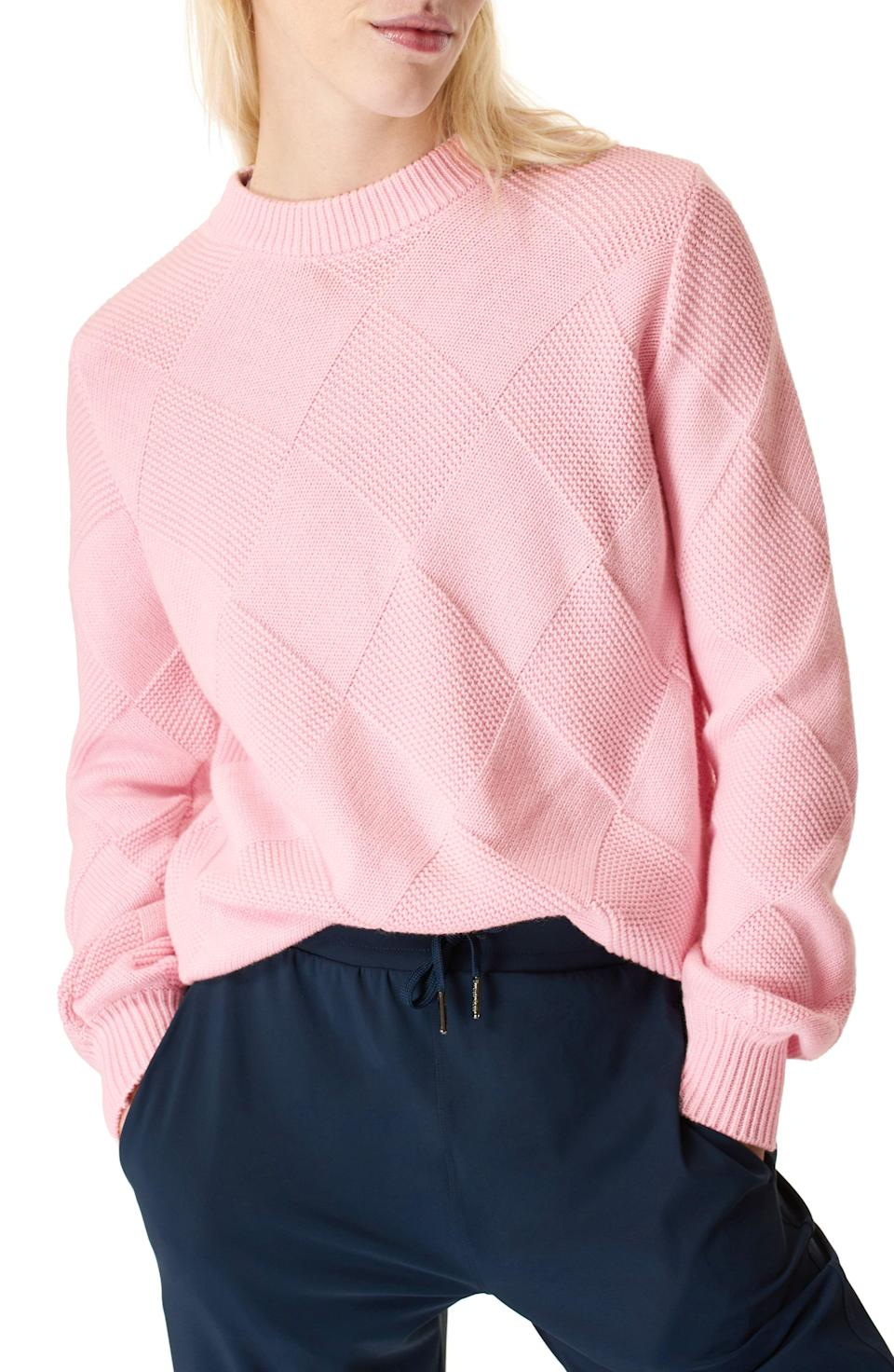 """<p><strong>SWEATY BETTY</strong></p><p>nordstrom.com</p><p><a href=""""https://go.redirectingat.com?id=74968X1596630&url=https%3A%2F%2Fwww.nordstrom.com%2Fs%2Fsweaty-betty-diamond-knit-cotton-wool-sweater%2F5842780&sref=https%3A%2F%2Fwww.townandcountrymag.com%2Fstyle%2Ffashion-trends%2Fg35967828%2Fnordstrom-spring-sale-2021%2F"""" rel=""""nofollow noopener"""" target=""""_blank"""" data-ylk=""""slk:Shop Now"""" class=""""link rapid-noclick-resp"""">Shop Now</a></p><p>$88.80</p><p><em>Original Price: $148</em></p>"""