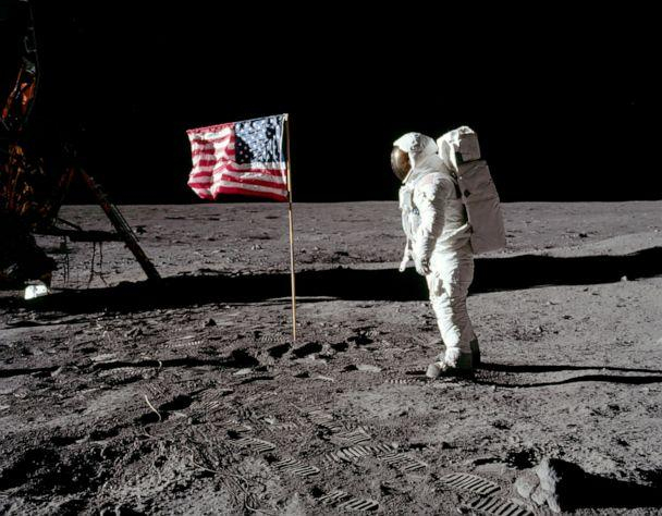 PHOTO: Astronaut Buzz Aldrin, lunar module pilot for Apollo 11, poses for a photograph besides the United States flag during an extravehicular activity on the moon, July 20, 1969. (NASA via Reuters)