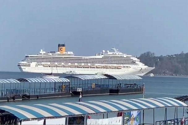 PHOTO: In this image taken from video, the Costa Fortuna cruise ship is seen near Phuket, Thailand, on March 6, 2020. (AP)
