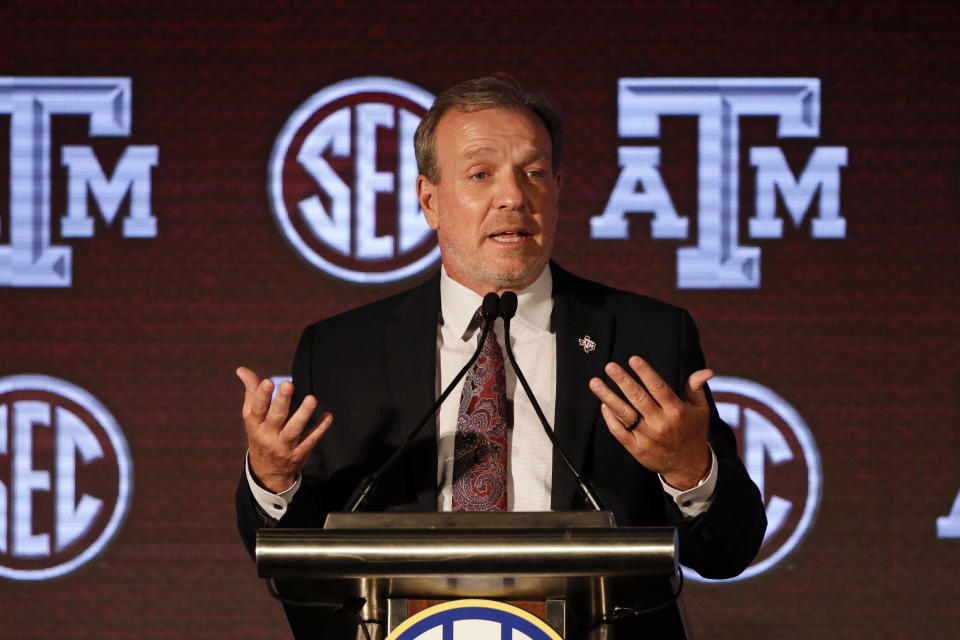Texas A & M head coach Jimbo Fisher speaks to reporters during the NCAA college football Southeastern Conference Media Days Wednesday, July 21, 2021, in Hoover, Ala. (AP Photo/Butch Dill)