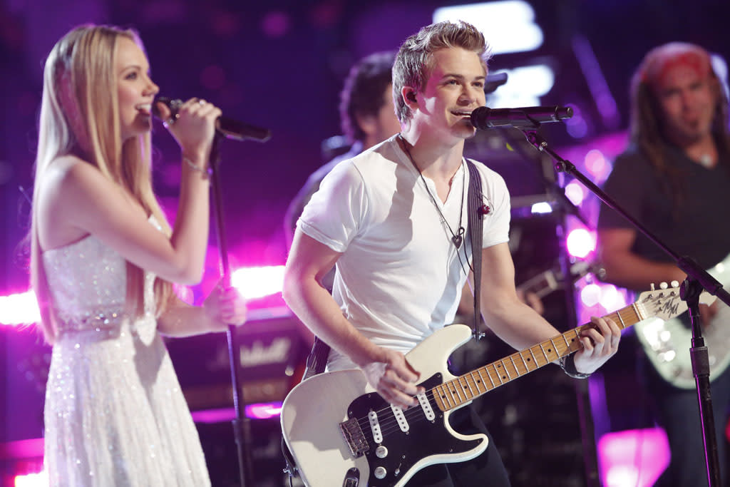 """Danielle Bradbery and Hunter Hayes perform """"I Want Crazy"""" on the """"Live Finale"""" episode of """"The Voice"""" Season 4."""