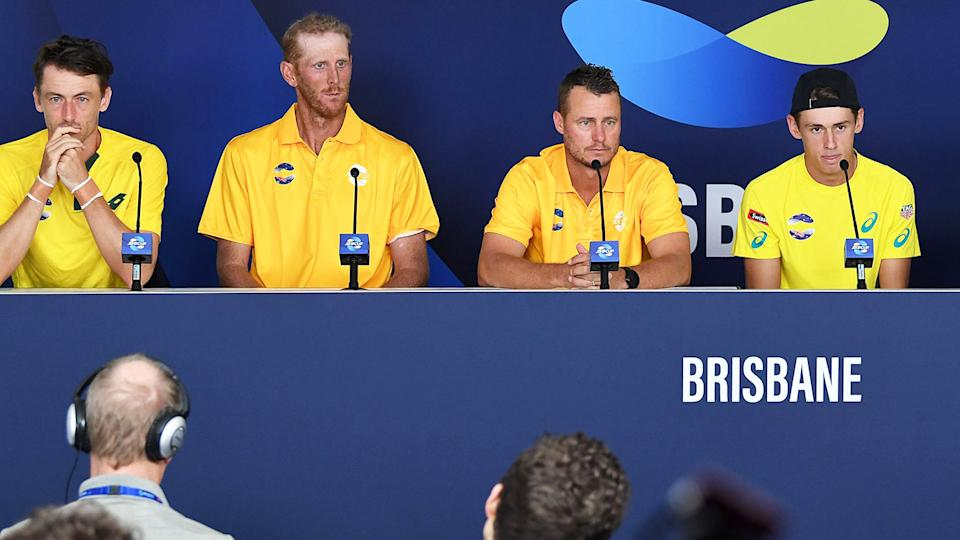 John Millman, Chris Guccione, Lleyton Hewitt and Alex de Minaur, pictured here at the ATP Cup in 2020.