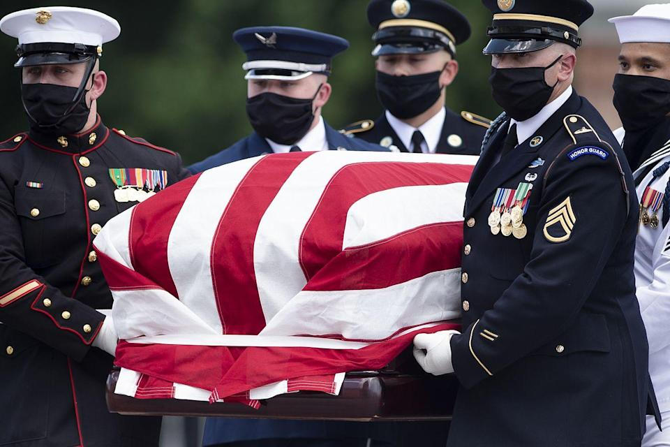 <p>The flag-draped casket of US congressman and civil rights icon John Lewis is carried by a joint services military honor guard to lie in state at the US Capitol in Washington, DC July 27, 2020.</p>