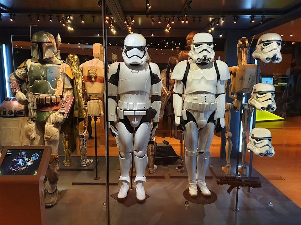 Costumes of Boba Fett and Stormtroopers at the Star Wars Identities exhibition in Singapore at the Artscience Museum. (Photo: Teng Yong Ping)