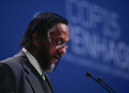 FILE PHOTO: Nobel Peace prize winner Pachauri speaks during the opening of the United Nations Climate Change Conference 2009, also known as COP15, at the Bella center in Copenhagen