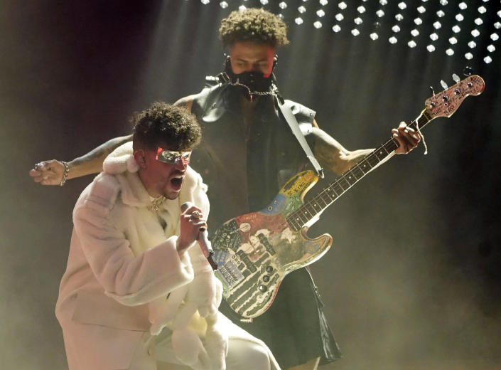 Bad Bunny performs at the Billboard Music Awards, Friday, May 21, 2021, at the Microsoft Theater in Los Angeles. The awards show airs on May 23 with both live and prerecorded segments. (AP Photo/Chris Pizzello)