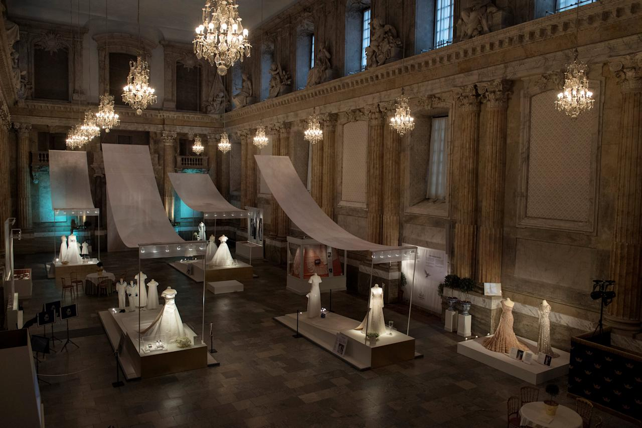 "General view of the exhibition ""Royal wedding dresses 1976-2015""  at the Royal Palace in Stockholm, Sweden October 17, 2016.  2016 marks 40 years since Miss Silvia Sommerlath and King Carl XVI Gustaf were married at Stockholm Cathedral and the bride became Queen of Sweden. The exhibition is part of this 40th anniversary featuring wedding dresses worn by five royal brides over the course of four decades. TT NEWS AGENCY/Jessica Gow via REUTERS ATTENTION EDITORS - THIS IMAGE WAS PROVIDED BY A THIRD PARTY. FOR EDITORIAL USE ONLY. NOT FOR SALE FOR MARKETING OR ADVERTISING CAMPAIGNS. SWEDEN OUT. NO COMMERCIAL OR EDITORIAL SALES IN SWEDEN. NO COMMERCIAL SALES."