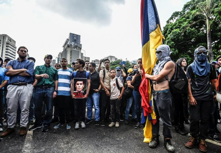 Venezuela opposition leader Henrique Capriles joins a march paying tribute to student Juan Pablo Pernalete killed during a protest against President Nicolas Maduro