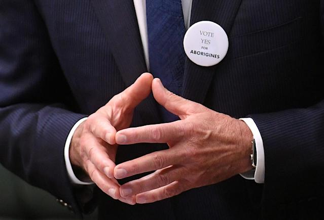 <p>A badge adorns the jacket of Australian Prime Minister Malcolm Turnbull as he speaks on the 50th anniversary of the 1967 referendum in the House of Representatives at Parliament House in Canberra, Australia, May 24, 2017. (Photo: AAP/Lukas Coch/Reuters) </p>