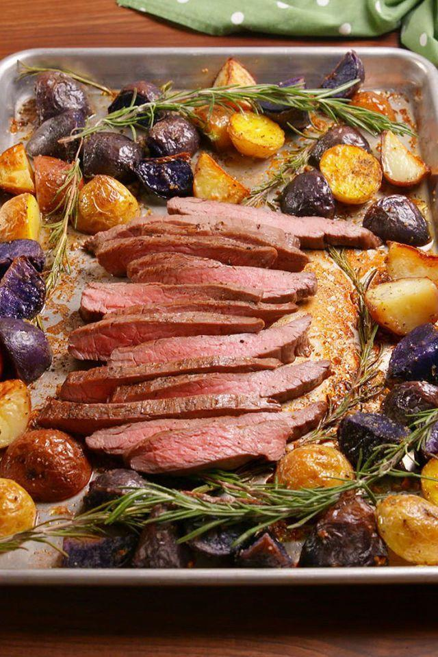 """<p>Forget any other method for preparing your steak. Christmas dinner doesn't get much easier than this flavorful, elevated meat-and-potatoes dish that you can have on the table in under 30 minutes.</p><p><em><a href=""""https://www.delish.com/cooking/recipe-ideas/recipes/a51272/sheet-pan-balsamic-steak-potatoes-recipe/"""" rel=""""nofollow noopener"""" target=""""_blank"""" data-ylk=""""slk:Get the recipe for Sheet-Pan Balsamic Steak and Potatoes »"""" class=""""link rapid-noclick-resp"""">Get the recipe for Sheet-Pan Balsamic Steak and Potatoes »</a></em></p><p><strong>RELATED:</strong> <a href=""""https://www.goodhousekeeping.com/food-recipes/g2346/steak-recipes/"""" rel=""""nofollow noopener"""" target=""""_blank"""" data-ylk=""""slk:28 Simple Steak Recipes That Are Easier to Make Than Reservations"""" class=""""link rapid-noclick-resp"""">28 Simple Steak Recipes That Are Easier to Make Than Reservations</a></p>"""