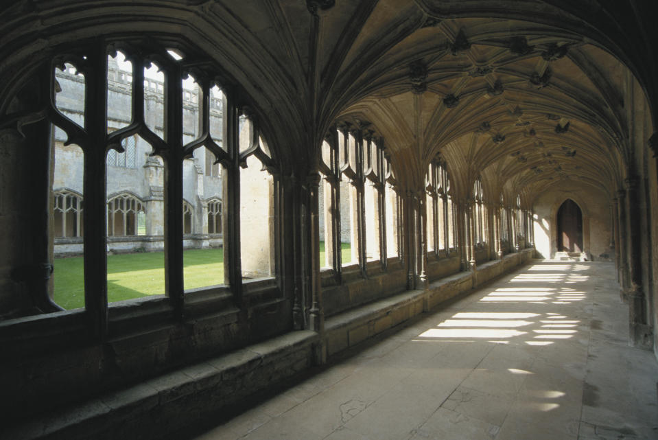 A view of the cloisters in Lacock Abbey, Wiltshire, April 1997.  (Photo by RDImages/Epics/Getty Images)