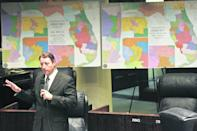 The last time around, it took court orders to finalize the maps of congressional and state Senate districts in Florida. The process, using new data from the 2020 Census, begins Monday, Sept. 20 in Tallahassee. In this photo from 2014, Senate Reapportionment Chairman Bill Galvano, R-Bradenton, discusses an amendment on the floor of the Senate. Behind him are maps of the 2012 Florida congressional districts, left, and the redrawn districts he proposed.