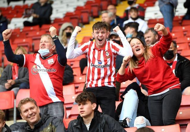 Supporters were pleased to be back in place at St Mary's Stadium