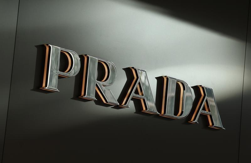 Sunlight is reflected on a Prada logo outside its store at Hong Kong's shopping Tsim Sha Tsui district