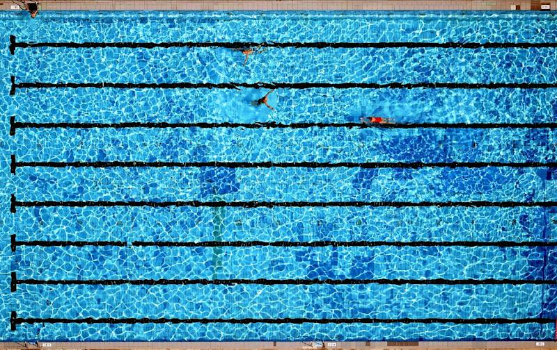 Egypt pull out of world champs in qatar protest - Rectangle pool aerial view ...