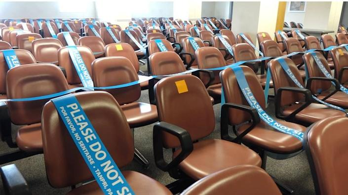 The jury pool room at Miami's Richard E. Gerstein Justice Building, pictured here on Feb. 23, 2021, has seats blocked off to ensure social distancing and protect from the novel coronavirus.