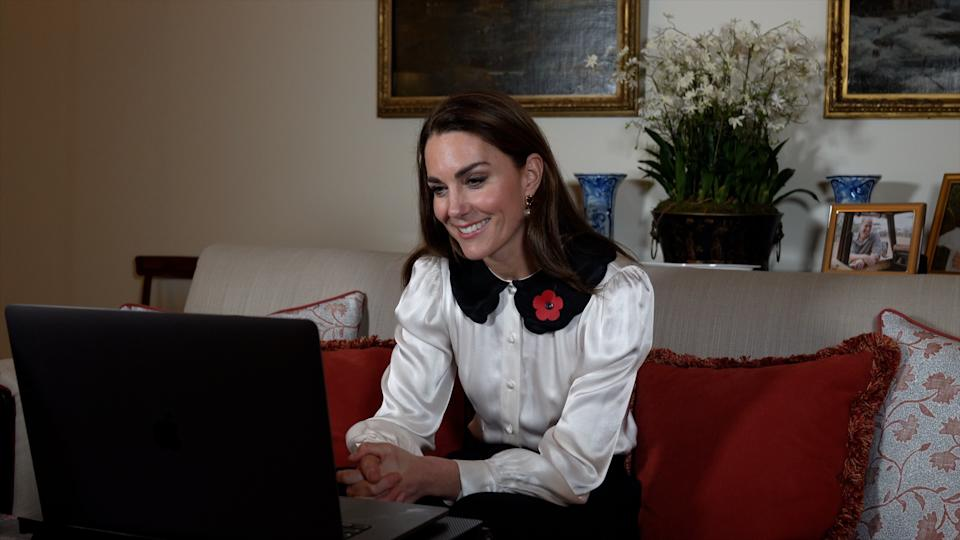 EMBARGOED TO 2200 TUESDAY NOVEMBER 10 Handout photo dated 09/11/20 issued by Kensington Palace of the Duchess of Cambridge during a video call where she marked Remembrance week by speaking to three women who have mourned the loss of partners or close family and heard how they have been supported by the Royal British Legion.