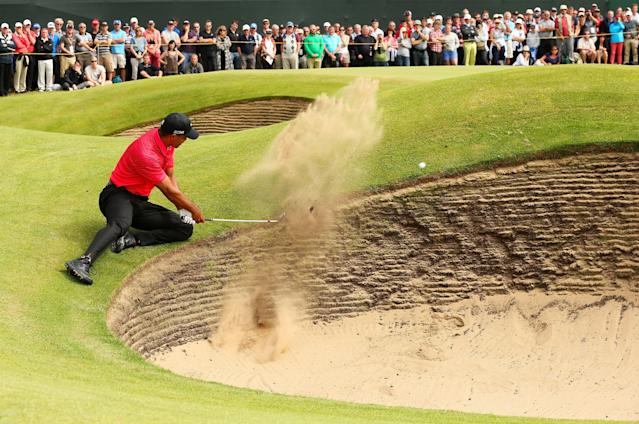 "<h1 class=""title"">141st Open Championship - Final Round</h1> <div class=""caption""> LYTHAM ST ANNES, ENGLAND - JULY 22: Tiger Woods of the United States hits his 3rd shot on the 6th hole during the final round of the 141st Open Championship at Royal Lytham & St. Annes Golf Club on July 22, 2012 in Lytham St Annes, England. (Photo by Ian Walton/R&A/R&A via Getty Images) </div> <cite class=""credit"">Ian Walton/R&A</cite>"
