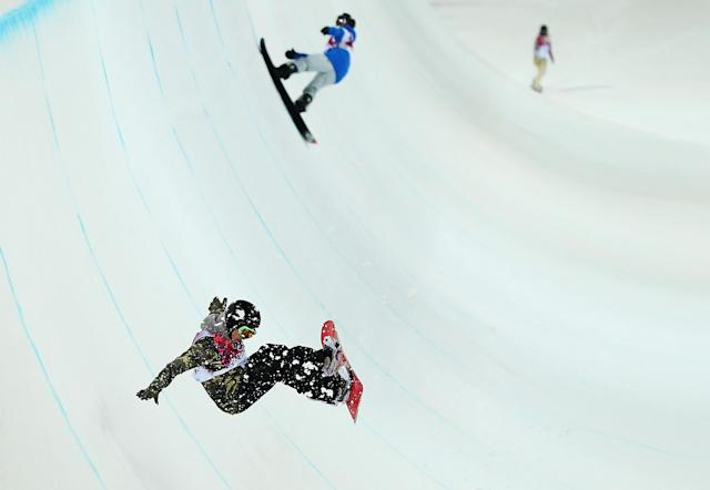 SOCHI, RUSSIA - FEBRUARY 10: Competitors practice during the Snowboard Halfpipe official training during day three of the Sochi 2014 Winter Olympics at Rosa Khutor Extreme Park on February 10, 2014 in Sochi, Russia. (Photo by Ryan Pierse/Getty Images)