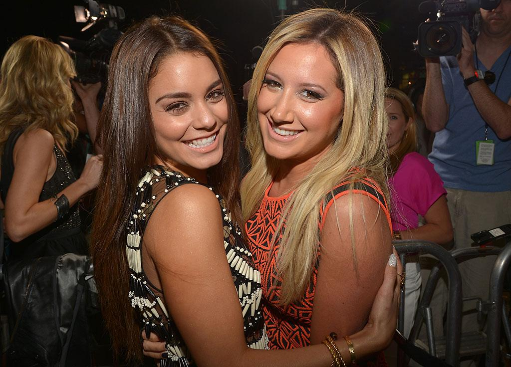 """Vanessa Hudgens (L) and Ashley Tisdale attend the """"Spring Breakers"""" Los Angeles Premiere at ArcLight Hollywood on March 14, 2013 in Hollywood, California."""
