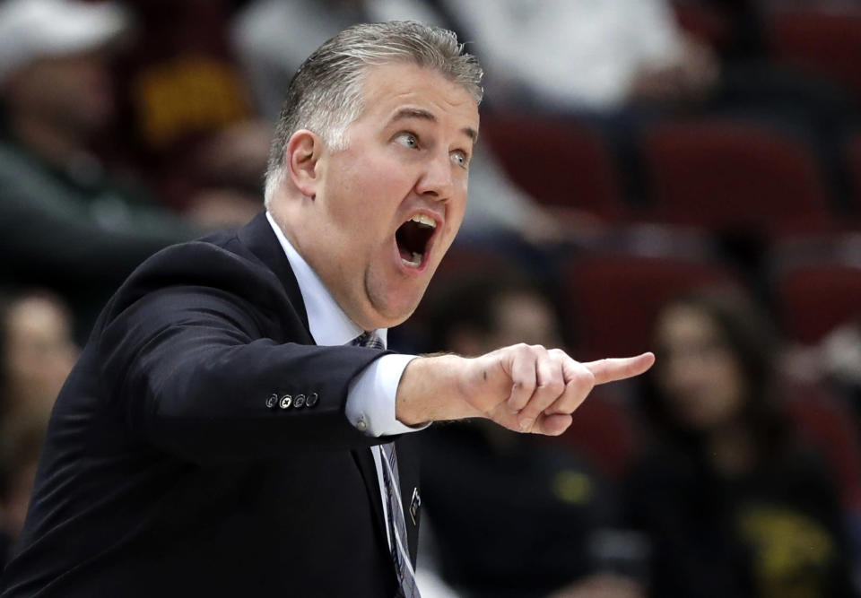 FILE - In this Friday, March 15, 2019, file photo, Purdue head coach Matt Painter directs his top team during the first half of an NCAA college basketball game against Minnesota in the quarterfinals of the Big Ten Conference tournament in Chicago. In a landscape where one-and-done or two-and-done players have become all the rage, Painter has largely ignored the trend by building Purdues program with players who expect to stay four years and cherish a degree. (AP Photo/Nam Y. Huh, File)