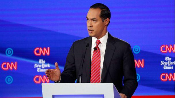 PHOTO: Democratic presidential hopeful Julian Castro speaks during the fourth Democratic primary debate at Otterbein University in Westerville, Ohio, Oct. 15, 2019. (John Minchillo/AP)