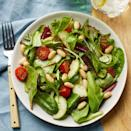 "<p>This no-cook bean salad is a delicious way to use summer's best cherry or grape tomatoes and juicy cucumbers for a light dinner or lunch. Fresh basil elevates an easy vinaigrette recipe that dresses up this simple salad into something extraordinary. <a href=""http://www.eatingwell.com/recipe/265886/tomato-cucumber-white-bean-salad-with-basil-vinaigrette/"" rel=""nofollow noopener"" target=""_blank"" data-ylk=""slk:View recipe"" class=""link rapid-noclick-resp""> View recipe </a></p>"