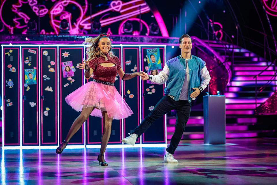 WARNING: Embargoed for publication until 21:00:01 on 02/10/2021 - Programme Name: Strictly Come Dancing 2021 - TX: 02/10/2021 - Episode: Strictly Come Dancing - TX2 LIVE SHOW (No. n/a) - Picture Shows: ++DRESS RUN++ **STRICTLY EMBARGOED FOR PUBLICATION UNTIL 21:00:01 02/10/2021** Katie McGlynn, Gorka Marquez - (C) BBC - Photographer: Guy Levy