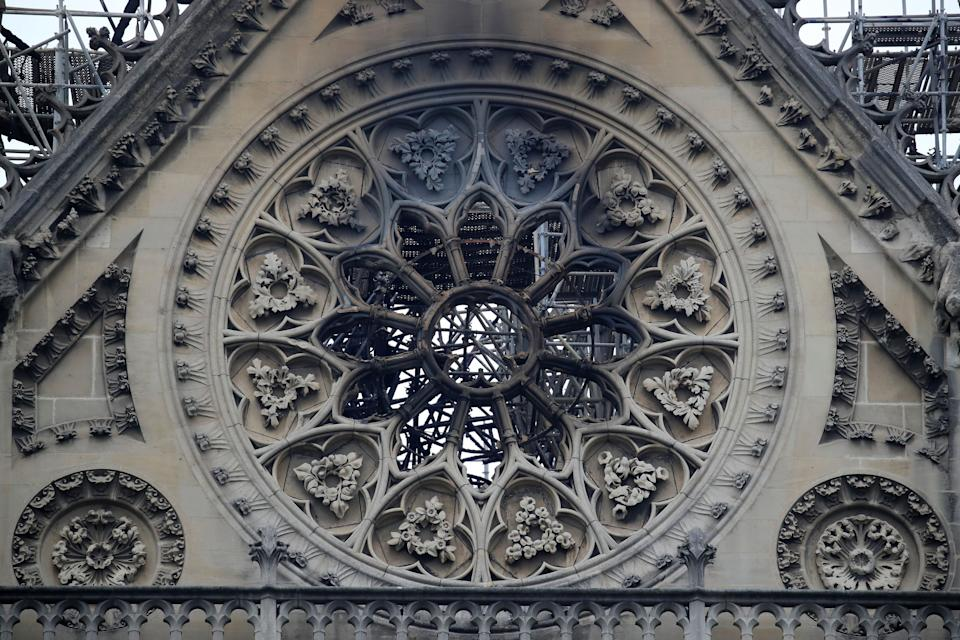 View of Notre-Dame Cathedral after a fire devastated large parts of the gothic gem in Paris, France April 16, 2019. A massive fire consumed the cathedral on Monday, gutting its roof and stunning France and the world.  REUTERS/Gonzalo Fuentes