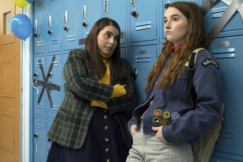 Beanie Feldstein, left, and Kaitlyn Dever in a scene from the film Booksmart.