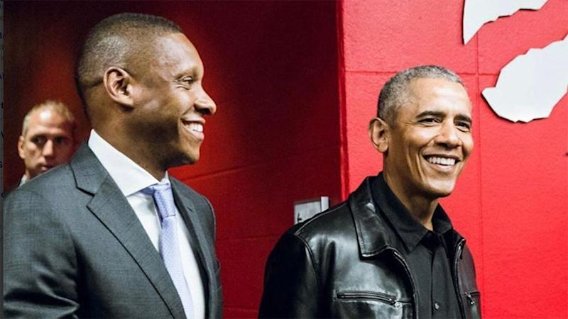 Ujiri, left, and Obama have a well-documented friendship. (Twitter/@Raptors)