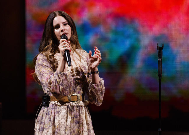 Lana Del Rey performs on stage at Rogers Arena in Vancouver last year. (Getty Images)