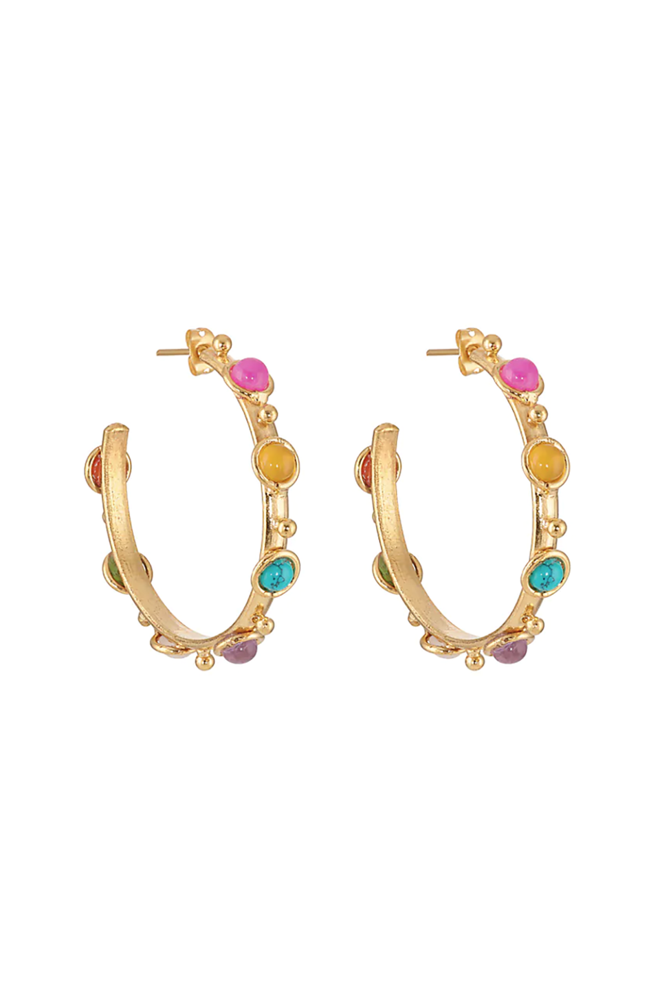 """<p><strong>Sylvia Toledano</strong></p><p>barneys.com</p><p><strong>$140.00</strong></p><p><a href=""""https://www.barneys.com/product/sylvia-toledano-petite-candy-hoop-earrings-506219942.html"""" rel=""""nofollow noopener"""" target=""""_blank"""" data-ylk=""""slk:SHOP IT"""" class=""""link rapid-noclick-resp"""">SHOP IT</a></p><p>Most French brands are known for being low-key and subtle, think Sézane or Rouje, but Sylvia Toledano is known for her dazzling oversized jewelry collections that were inspired by her childhood in Africa. These hoops instantly transport you to the faraway destination with its colorful pieces of red and yellow onyx, amethyst, turquoise, and carnelian. </p>"""