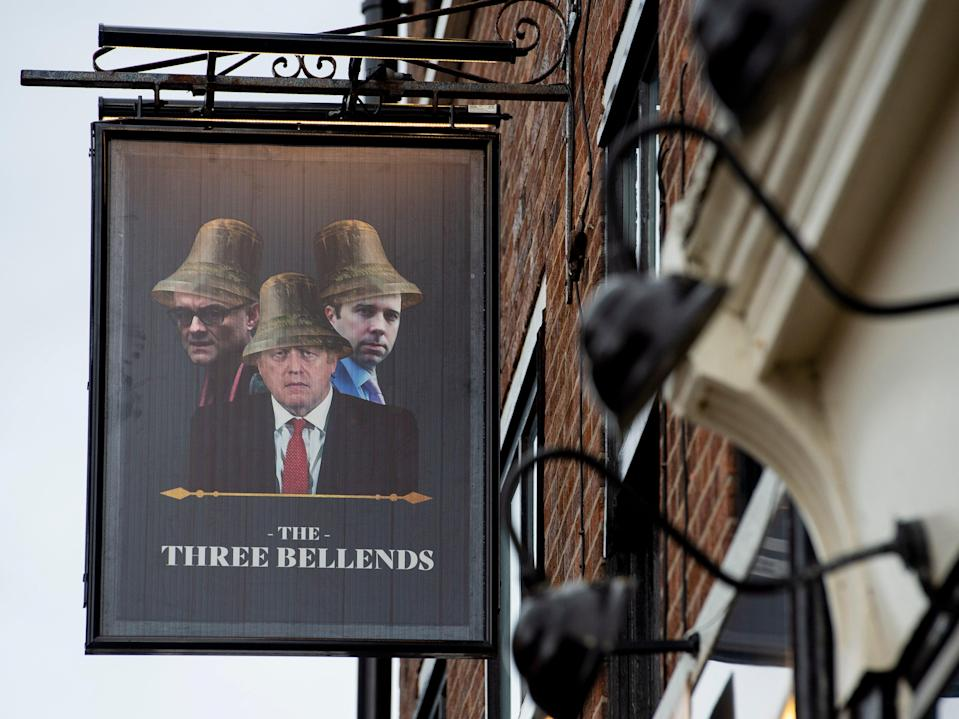 The James Anderson pub, which has been renamed as 'The Three Bellends', in protest against the government's handling of the coronavirus pandemic (EPA)