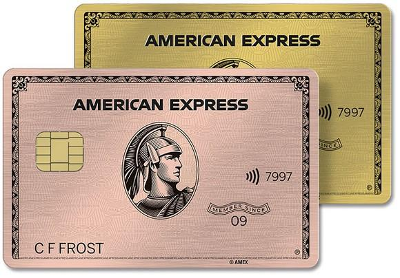 American Express Gold Card in gold and rose gold.