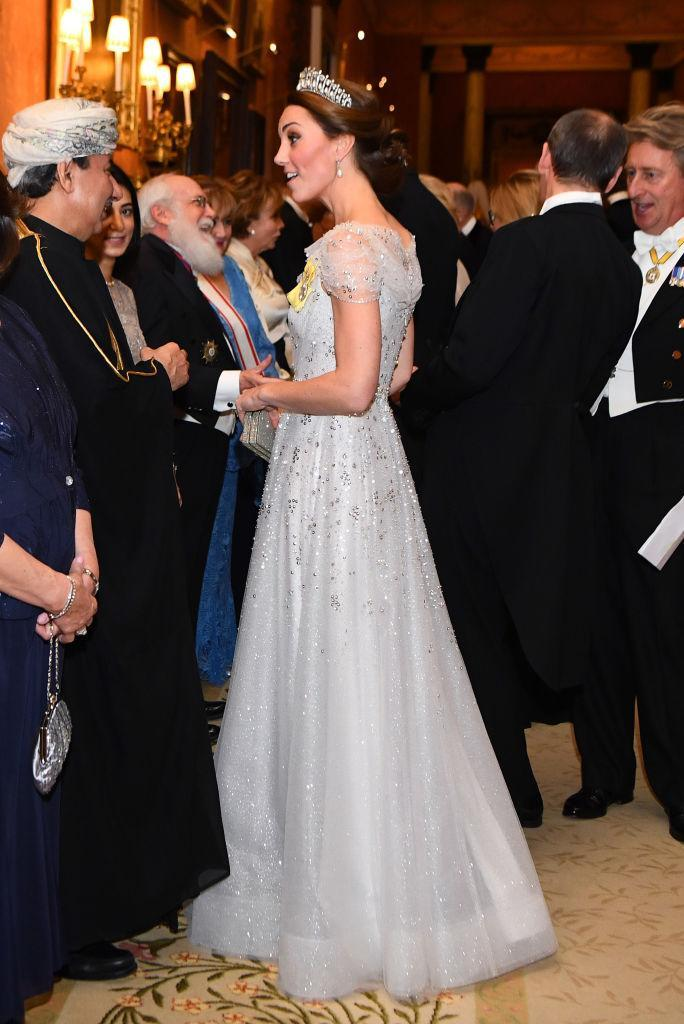 <p>On December 4, the Duchess of Cambridge wore a tiara for the ninth time at the Queen's annual diplomatic reception at Buckingham Palace. She paired Princess Diana's pearl headpiece with a sparkly Jenny Packham gown. <em>[Photo: Getty]</em> </p>