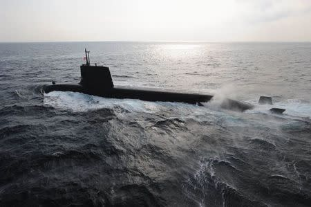 A Japan Maritime Self-Defense Forces diesel-electric submarine Soryu is seen in this undated handout photo released by the Japan Maritime Self-Defense Forces, and obtained by Reuters on September 1, 2014. REUTERS/Japan Maritime Self-Defense Force/Handout via Reuters