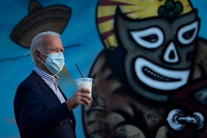 Democrat Joe Biden campaigned in Phoenix, Arizona on October 8, where he visited the Barrio Cafe to drink some horchata