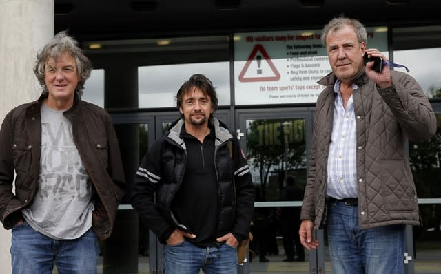 Former Top Gear presenters James May, Richard Hammond and Jeremy Clarkson