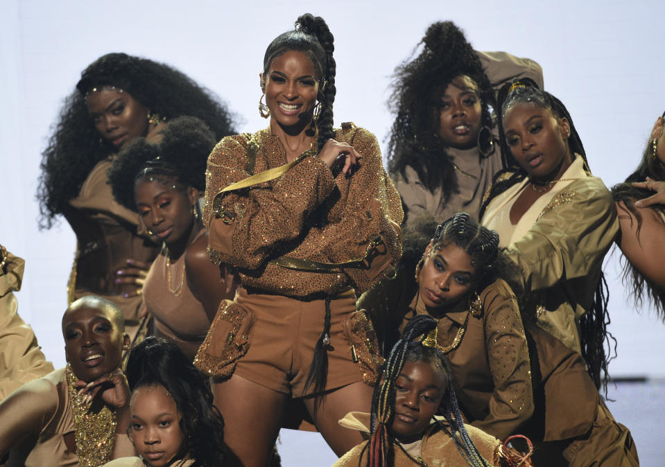 "Ciara performs ""Melanin"" at the American Music Awards on Sunday, Nov. 24, 2019, at the Microsoft Theater in Los Angeles. (Photo by Chris Pizzello/Invision/AP)"