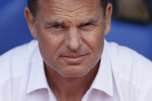 FILE - In this Saturday Aug. 26, 2017 file photo, Crystal Palace's manager Frank de Boer looks on during their English Premier League soccer match against Swansea City at Selhurst Park in London. Frank de Boer was appointed coach of the Netherlands on Wednesday, Sept. 23, 2020 succeeding Ronald Koeman who quit to join Barcelona. The federation said the 50-year-old De Boer signed a contract through the World Cup in Qatar in 2022. (AP Photo/Tim Ireland, File)
