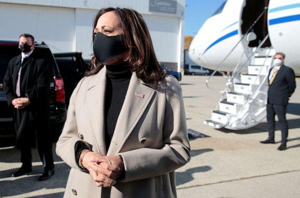 PHOTO: Democratic vice presidential candidate Kamala Harris arrives at Metro Airport in Romulus during on Election Day in Michigan, Nov. 3, 2020. (Rebecca Cook/Reuters)