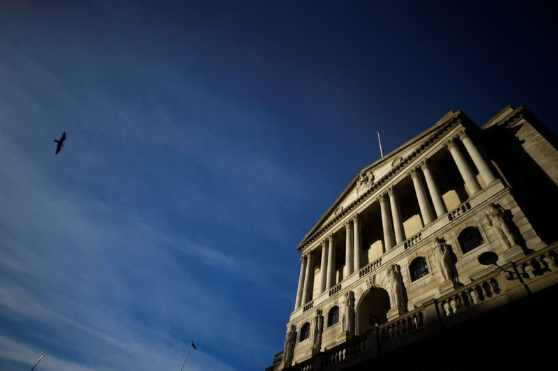 FILE PHOTO: A bird flies past The Bank of England in the City of London
