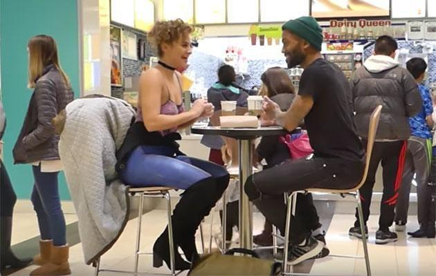 He got a little suspicious while they shared a coffee. Photo: YouTube/Jen The Body Painter