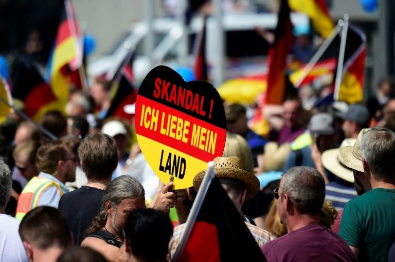 """An AFD supporter holds a placard reading """"Scandal! I love my country"""" during a demonstration by far-right supporters"""