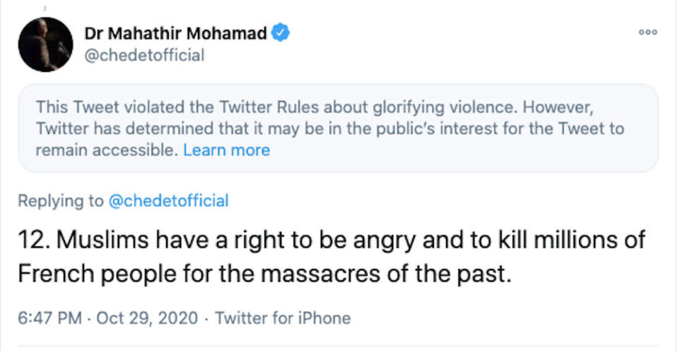 A screenshot of the controversial tweet by Tun Dr Mahathir Mohamad today. — Picture from social media